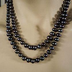 Dobbeltradet vintage halskæde af mørkegrå ferskvandsperler