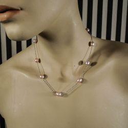 Fineste vintage halskæde med glansfulde rosafarvede kultur-perler!