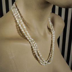 Fineste lange Charleston-halskæde med glas samt ægte kulturperler!