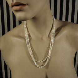 Vintage halskæde af små ferskvandsperler med sølvlås