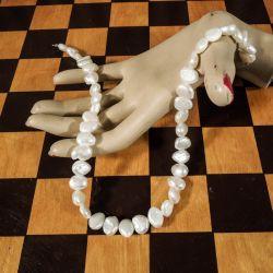 Vintage halskæde af store, barokke ferskvandsperler beregnet til kuglelås!