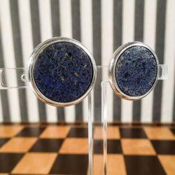 Vintage, helt runde øreclips i sterling sølv samt Lapis Lazuli, fra Arne Johansen