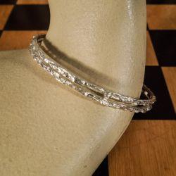 Smuk vintage armring i sterling sølv med organisk design!