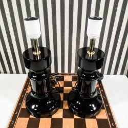 Vintage, danske design bord-lamper i nat-sort glas! (et sæt)