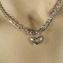 Vintage sølv halskæde med sølvhjerte i.
