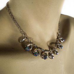 Vintage Herman Siersbøl halskæde i sølv med blålige glas sten