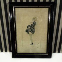 Fineste Gerda Wegener kopi-tegning i sort træramme
