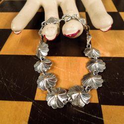 Vintage blomster-sølv-lænke i fineste stand!!