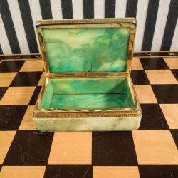 Fineste vintage smykke/kandis-skrin i grønt alabast