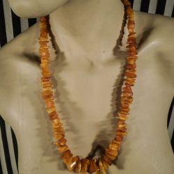 Vintage rav halskæde med store stykker mælkerav i forløb