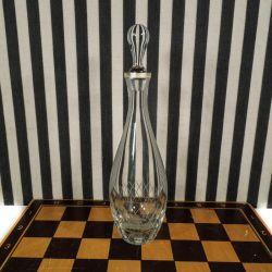 Vintage glas-karaffel med sølvmontering