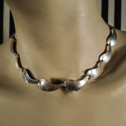 Vintage halscollier fra Herman Siersbøl med bølgede led i sterling sølv!