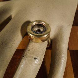 Vintage Baluba ring i forgyldt sterling sølv med bjergkrystal