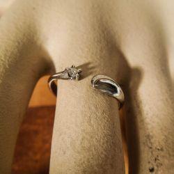 Vintage fjorten karat designer ring i hvidguld med brillant!