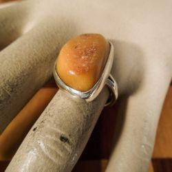 Vintage rav-ring i sterling sølv fra Aagaard