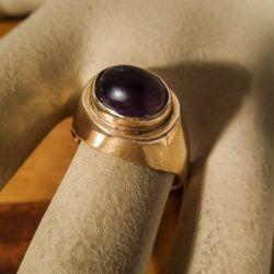 Vintage guld i fjorten karat guld med stor cabochon-slebet ametyst
