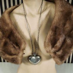 Vintage stort hjerte i halskæde fra Bent Larsen i tin!