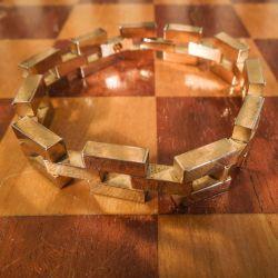 Vintage, tungt blok-armbånd forgyldt med atten karat guld