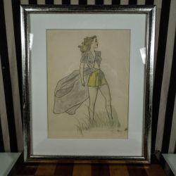 Original signeret tegning af smuk kvinde i klitterne, professionelt indrammet.