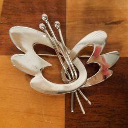 Vintage stor blomster-broche i sterling sølv!