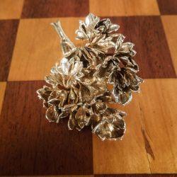 Vintage stor persille broche i forgyldt sølv fra Nordens Flora Danica.