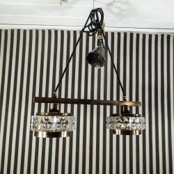 Vintage dobbelt loftslampe udført i messing/glas, antageligt Carl Fagerlund.