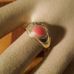 Antik fjorten karat guld-ring med ægte koral samt tre oldcut diamanter!