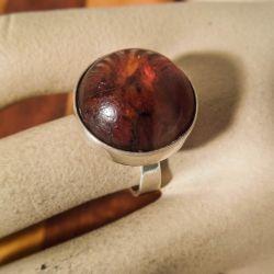 Vintage ring med rund front af rav og sterling sølv fra Einer Fehrn