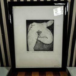 Erotisk koldnåls ætsning fra Susan Fredlund, 93. Mål Inkl. ramme: 31,5 x 39 cm.