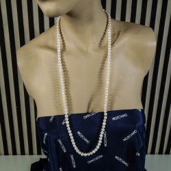 Lang halskæde af store glansfulde ferskvands-perler i rigtig god kvalitet