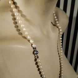 Vintage lang perlehalskæde af ferskvandsperler med kuglelås af sølv!