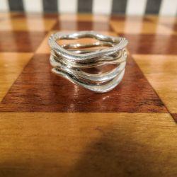 Vintage firedobbelt ring i sølv med detaljer af guld fra Rauff.