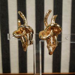 Store, smukke vintage øreclips i forgyldt sølv fra Flora Danica