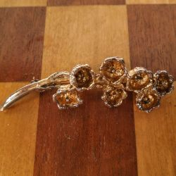 Vintage Flora Danica blomster-broche i forgyldt sølv