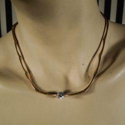 Vintage forgyldt halskæde/collier med stor Zirkonia