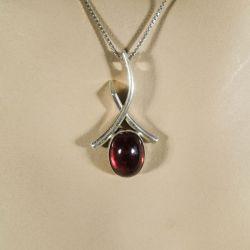 Vintage halskæde fra N.E. From i sterling sølv og rav.