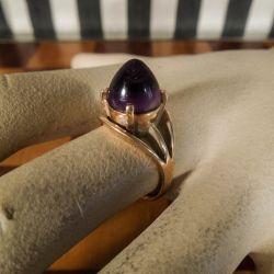 Vintage designer ring udført i guld med ametyst fra Poul Nyhagen.