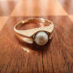 Vintage guldring med ægte Akoya-perle fra Siersbøl