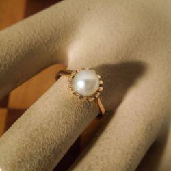 Vintage solitaire perle ring fra Bernhard Hertz i  guld