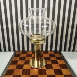 Vintage lysestage i messing og klart glas fra Hans Agne Jakobsson til stearinlys
