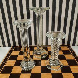 Sjældne gamle hattestandere i klart glas i forskellige højder
