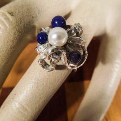Vintage sølvring med ægte Akoya-perle samt perler af mørkeblå sten fra Siersbøl