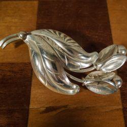 Vintage stor blad broche fra Herman Siersbøl i sterling sølv!
