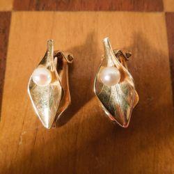 Smukkeste guld øreclips med ægte perler fra Siersbøl
