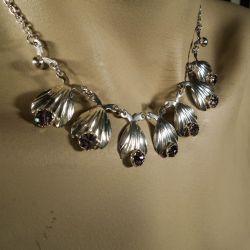 Vintage halskæde i sterling sølv med lyserøde sten fra Siersbøl