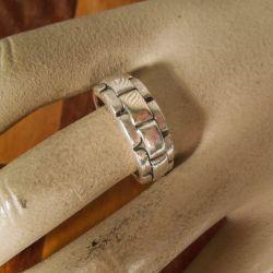 Vintage herre ring i sterling sølv med detaljer af guld