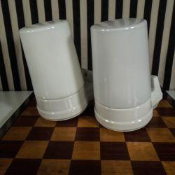 Vintage sæt Ifô badeværelseslamper i hvid glas og porcelæn