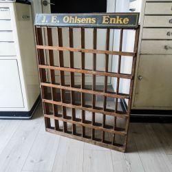 Stort vintage reklame-display i træ fra J.E_Ohlsens Enke i Odense