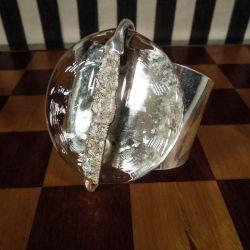 Vintage unika Jacob Hull armring i forsølvet metal og glas! Helt fantastisk!