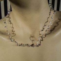 Vintage designer halskæde, håndværk i snoet sterling sølv